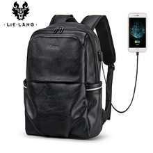 LIELANG School Backpack Waterproof 15.6 inch Leather For Laptop Men Travel Teenage Bag Male Bagpack Mochila