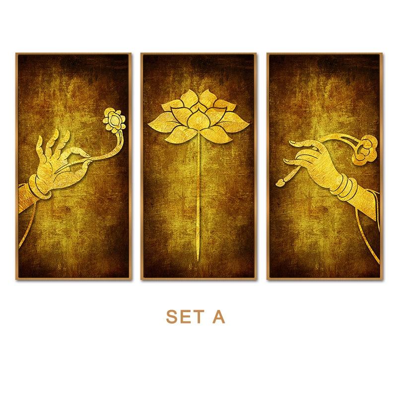 Buddha lotus canvas wall art