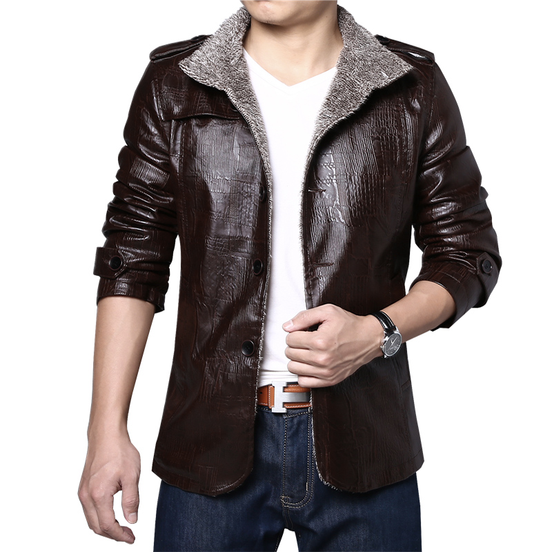 HCXY New arrival Winter Mens leather jacket brand Velvet thick Warm coat male Business Casual Mens Leather Jackets and coats