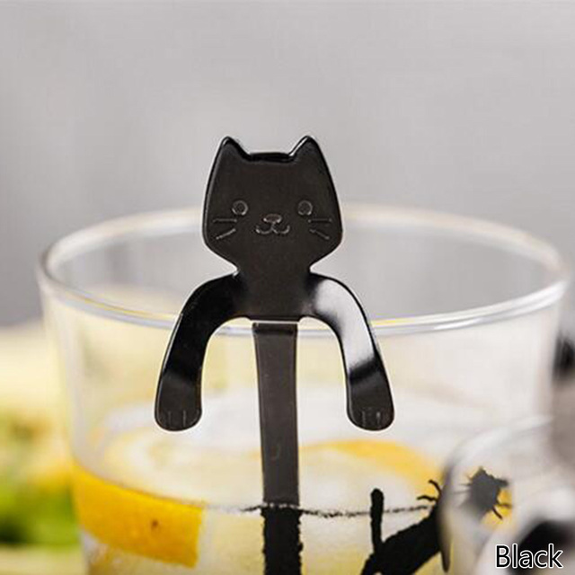 Feb.7 4PCS Stainless Steel Cat Kitten Design Stainless Steel Coffee/Tea/Dessert/Drink/Mixing/Milkshake Spoon Tableware Flatware Gadgets