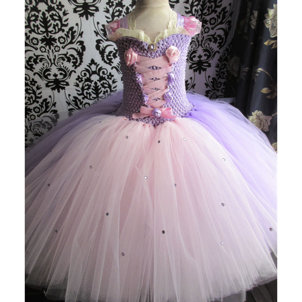 Princess Rapunzel Girl Tutu Dress Children Lace Ribbon Fluffy Ball Gown Birthday Party Dresses Kids Halloween Fairytale Custom princess alice inspired tutu dress children knee length character birthday party cosplay tutu dresses kids halloween costume