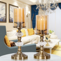 American metal retro candlestick romantic Home Decoration candlelight dinner model room display crystal metal wax candlestick