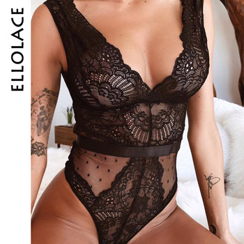 Ellolace Summer Lace Bodysuit Women Floral Embroidery Deep V Neck Sexy Bodysuit Dot Patchwork Jumpsuit Overalls 2019 Femlae Body 1