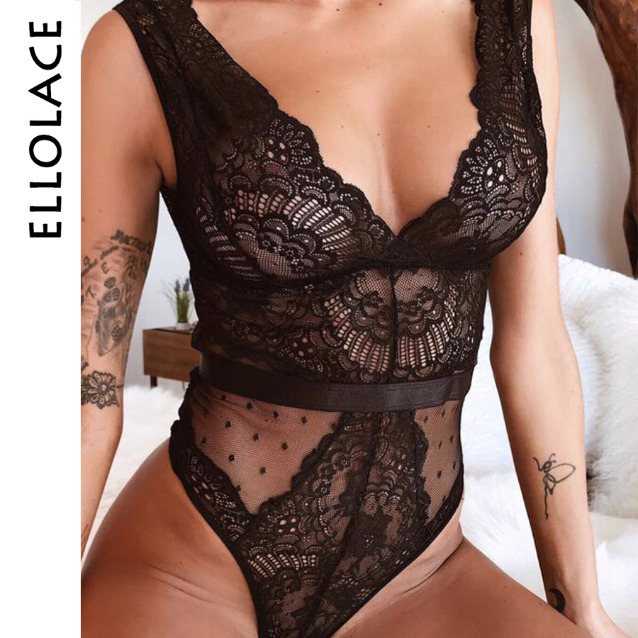 Ellolace Summer Lace Bodysuit V Neck Mesh Women Hollow Out Teddies Bodycon Sleeveless Sexy female new   jumpsuit   Bodysuit Overalls