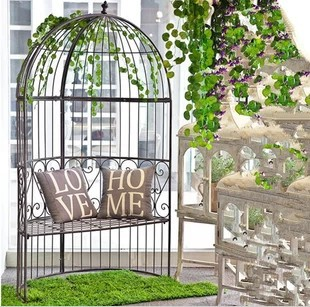 European Style Wrought Iron Birdcage Creative Balcony Patio Garden Gazebo Semicircle Chairs Outdoor Furniture