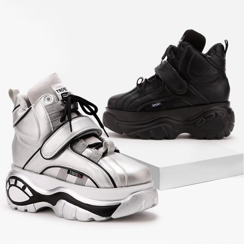 Sneakers Argent Et Plate Femelle Maladroit rose Boucle argent Marque Noir forme Blanches Décontractées Chaussures Crochet blanc Femmes Lady Augmenter Chaussure EYeWIbDH29