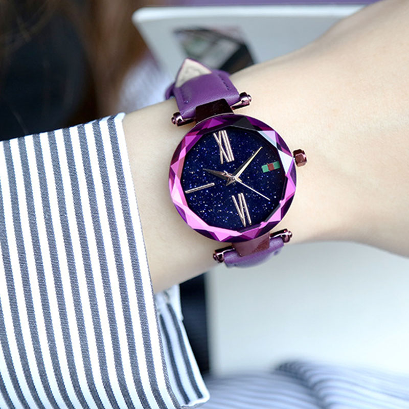 все цены на 2018 Women Luxury Brand lady Crystal Wrist Watch Starry sky Fashion Leather Woman Quartz Ladies Watches Women Female Wristwatch онлайн