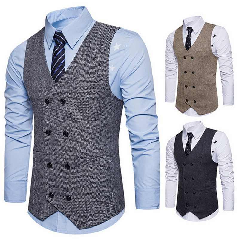 Men Brand suit Vests Waistcoat Gilet Homme Casual Sleeveless Formal Business Jacket Mens Slim Fit  Wedding Dress Vests homme