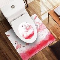 3pcs Flamingo pattern bathroom anti skid waterproof decorative wall PVC environmental self adhesive toilet sticker