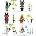 Decool 10047-10052 compatível ninjagoed geral kozu yang pythor ninja building blocks set ladrillo juguete