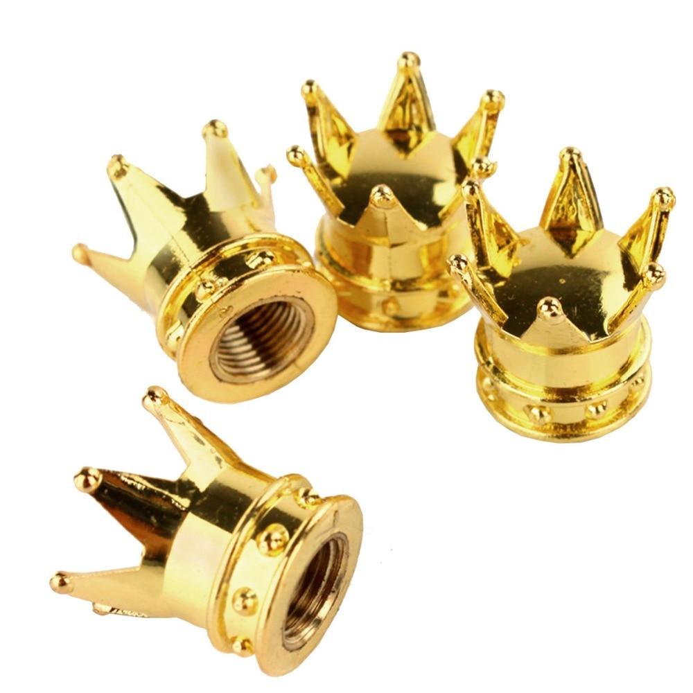 A13 4 Pcs/LOT Chrome Gold Crown Tire/Wheel Stem Air Valve Caps Set Car Truck Rod