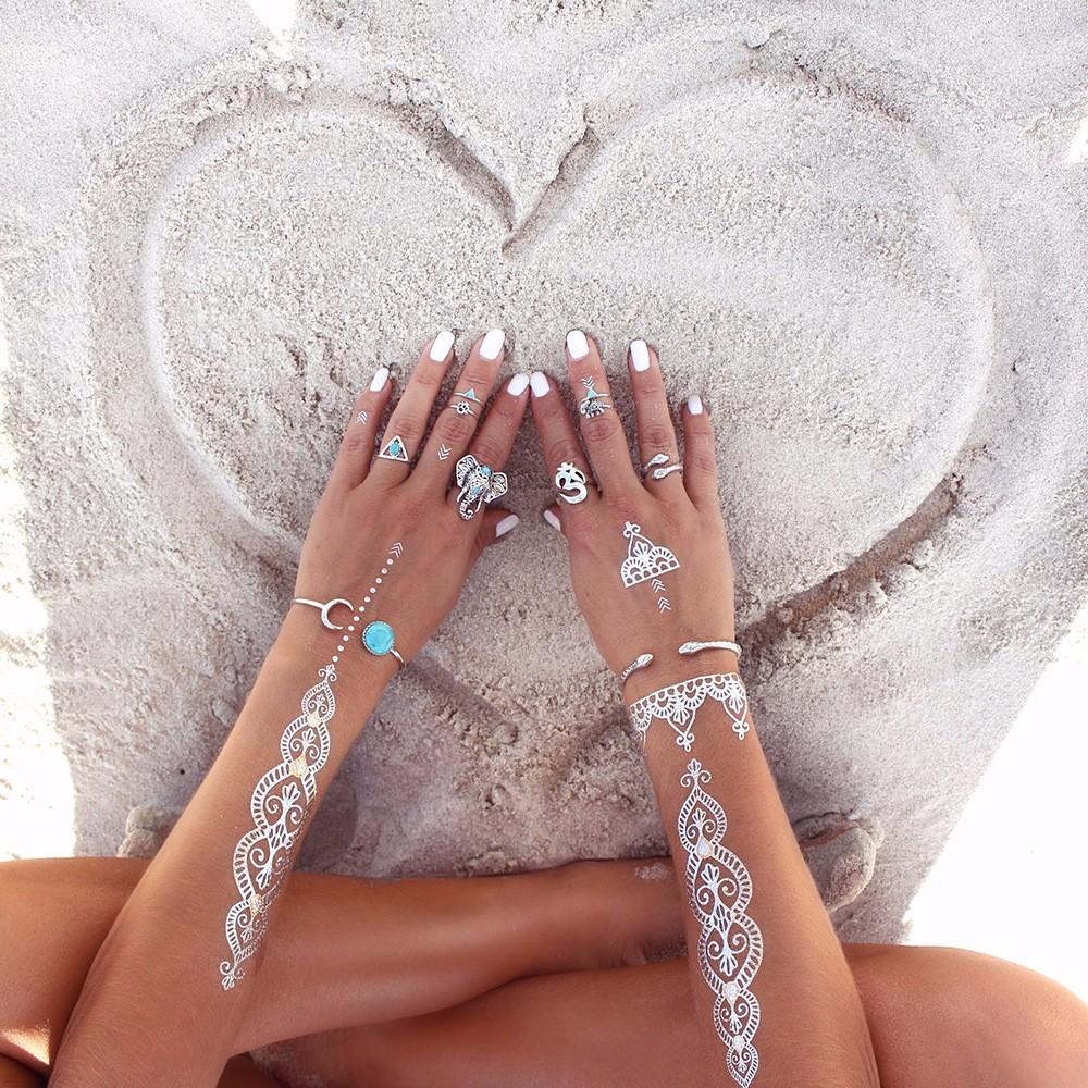 HTB14Y5_LpXXXXb4XpXXq6xXFXXXX Fashionable 8-Pieces Boho Retro Spirituality Symbols Stackable Midi Ring Set