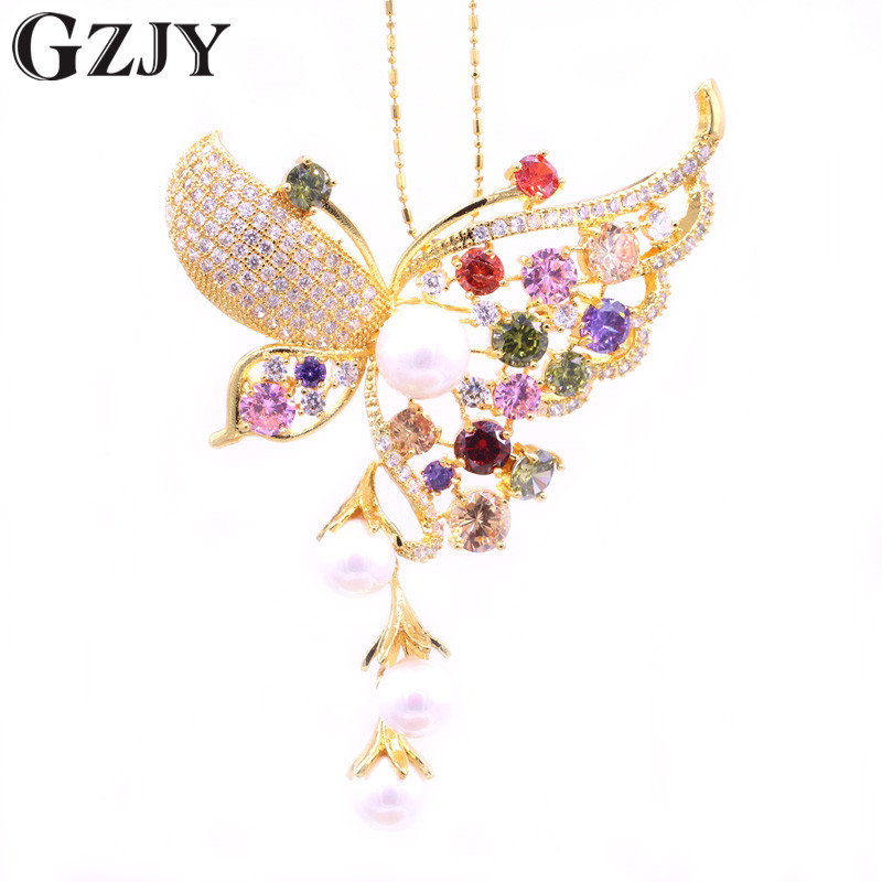 GZJY Gorgeous Accessories Butterfly Pearl Colorful AAA Zircon Pure Gold Color Brooch Pin/Pendant versatility Jewelry