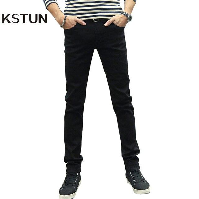 Homens Jeans Stretch KSTUN Preto Sólido Magro 2019 Nova Primavera Casuais Calças Jeans Slim Fit de Alta Qualidade Dos Homens de Calças Compridas cowBoys