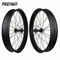 Stronger and stiffness of the bike history 26 inch Carbon FatBike wheelsets 100mm Width 25mm Depth Hookless Tubeless Compatible