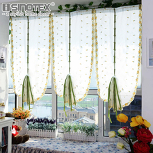 Embroidered Yellow Small Flowers Roman Bland Sheer Curtains For Bedroom/Tulle  Voile Curtains For Kitchen 1 PCS
