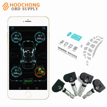 BLE Smart Car TPMS Bluetooth 4.0 Auto Wireless Tyre Tire Pressure Monitoring System 4 Sensors for iOS Android Phone App Display