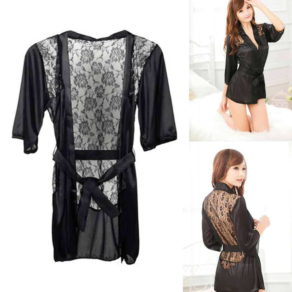 1PCS Sexy Lingerie Satin Lace Back Soft Robe Sexy Night Gown Women's Sexy Erotic Underwear Intimate Sleepwear Wholesale