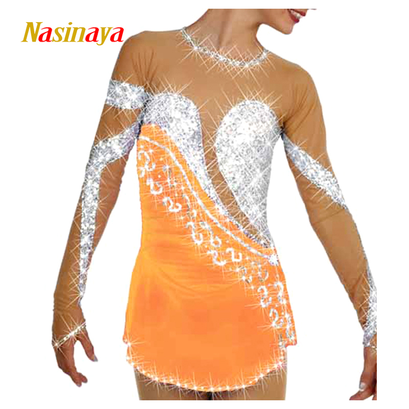 Customized Costume Ice Figure Skating Gymnastics Dress Competition Adult Child Girl Skirt Performance Yellow Backless customized costume ice figure skating gymnastics dress competition adult child girl pink skirt performance fold off shoulder