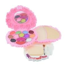 Sweet Heart shape 19 colors Makeup Eye Shadow palette Pink Cute lip gloss Blusher set Kids Shimmer eyeshadow Nude Cosmetics kit