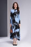 2019 New Wrist Sleeve O Neck Horse Print 1 Color 4 Size Women's Dresses