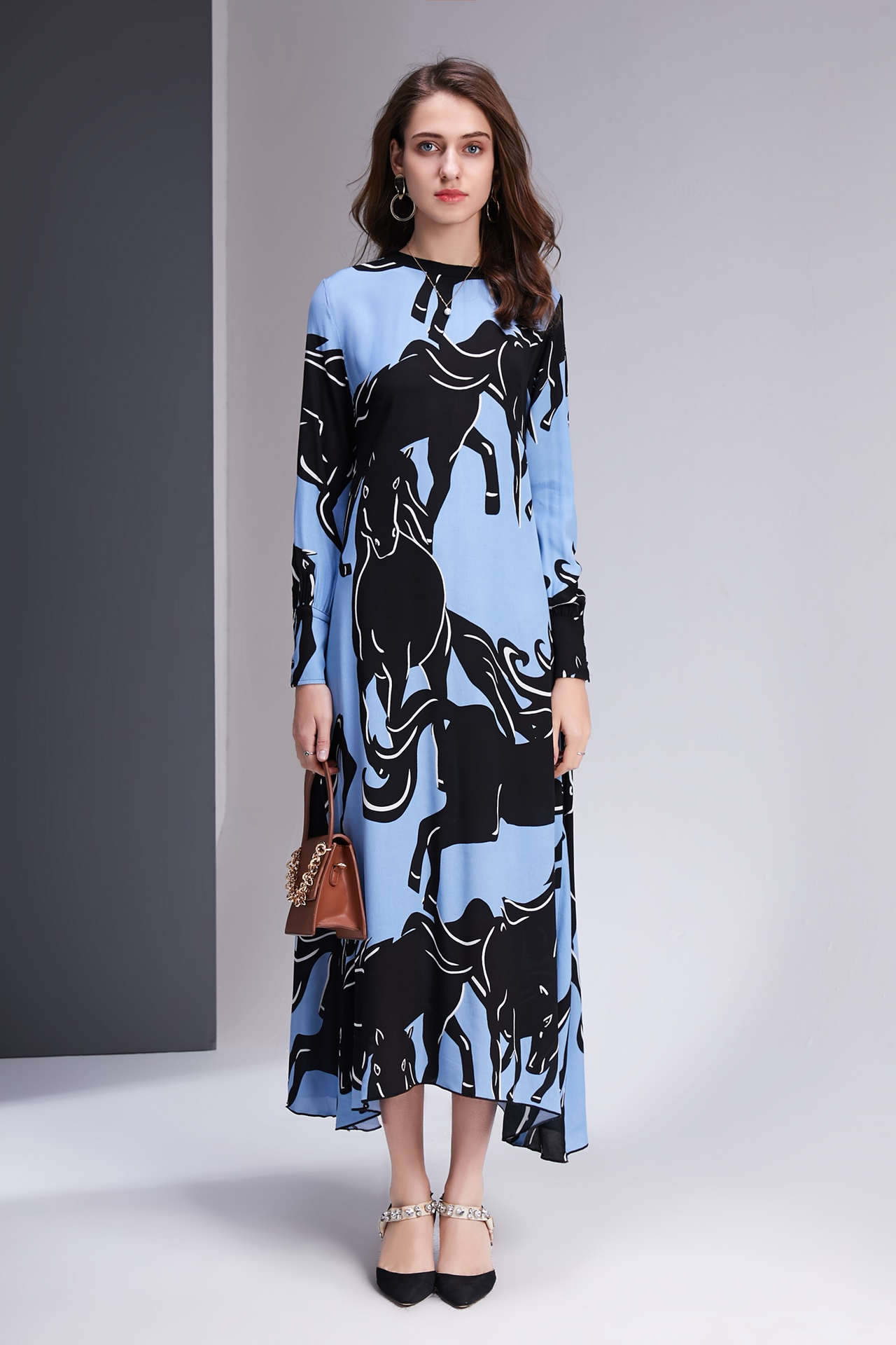 83e23203e17 O De 2019 Robes Nouveau Taille Imprimer Blue 4 Femmes Manches Couleur  Poignet cou Cheval 1 drBCxoeQW