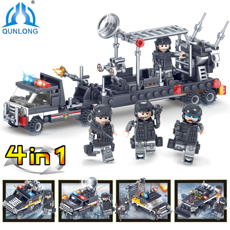 Qunlong Toys Military SWAT Series Armored Car Soldier Building Blocks Compatible legoe City Police Figures weapon Bricks Toys 1712 city swat series military fighter policeman building bricks compatible lepin city toys for children