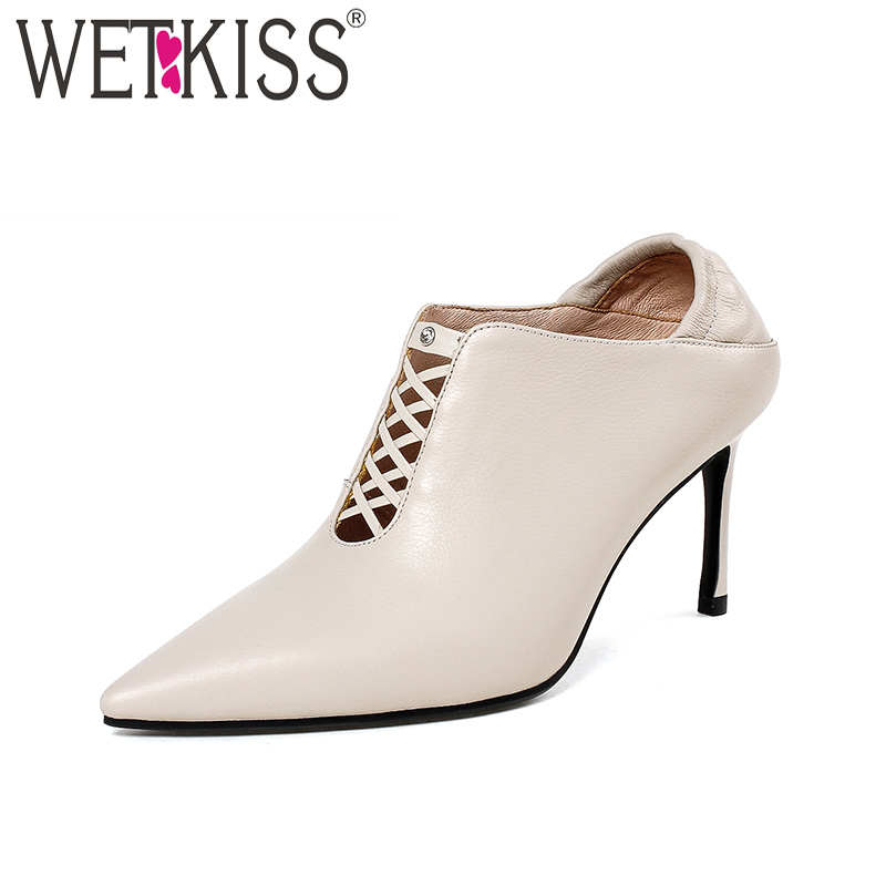 WETKISS 2018 Handmade Women Pumps Genuine Leather Pointed Toe High Heels Footwear Cross Tied Spring Fashion Ladies Mules Shoes isnom high heels women pumps 2018 spring fashion office ladies shoes pointed toe strange style genuine leather rivet footwear