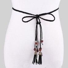 Женский ремень для платья, модный, в народном стиле, на заказ, с кисточкой, Плетеный, с кулоном, повседневный поясной ремень, тонкий пояс, ceinture femme de marque luxeA9