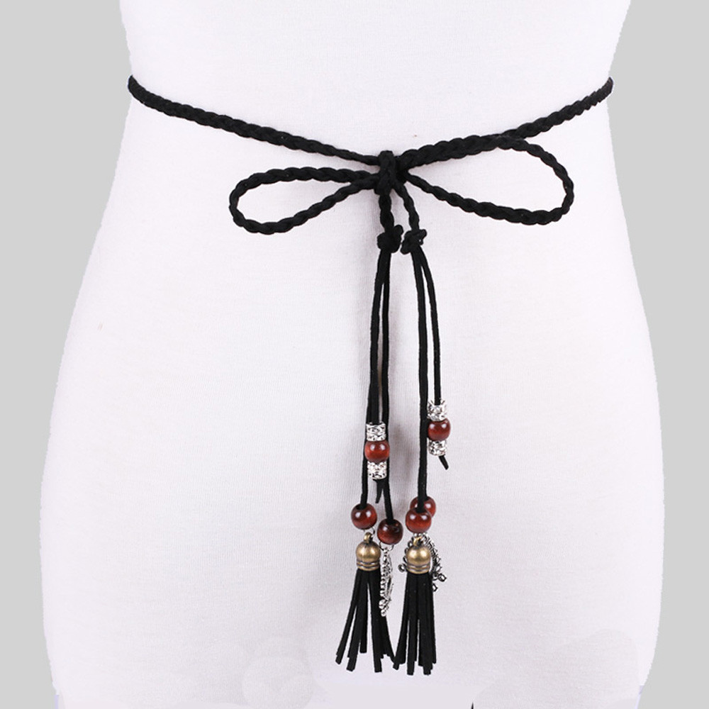 Women Belt For Dress Fashion Folk-Custom Tassel Braided Pendant Waist Belt Casual Thin Belt Ceinture Femme De Marque LuxeA9