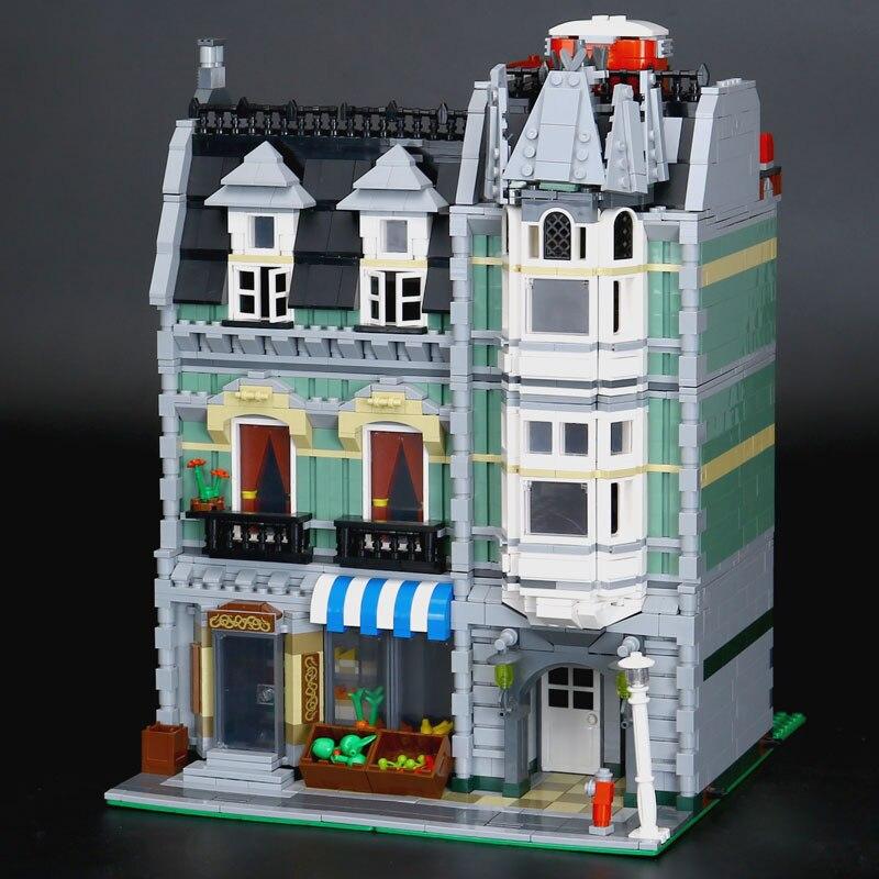 LEPIN 15008 2462Pcs New City Street Green Grocer Model Building Kit Blocks Bricks Toy Educational Compatible Funny Gift 10185 15008b 2462pcs dhl city street green grocer model building kits blocks bricks toys gifts compatible 10185 lepin