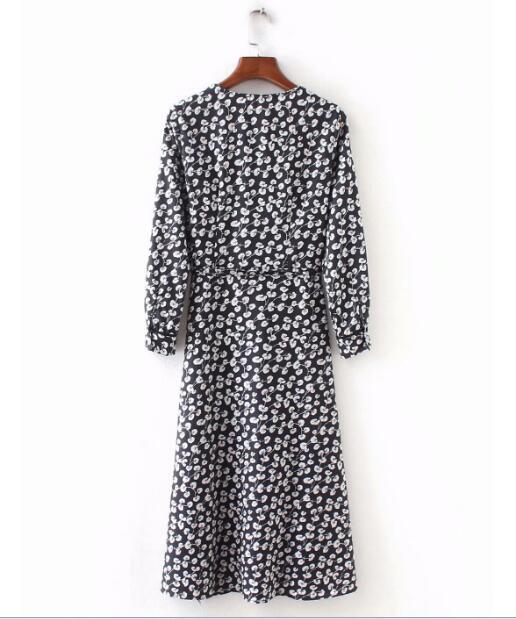 French Cross V Neck Floral Print Lacing Up Dress Retro 2018 Long Sleeve Front Slit Mid-calf Slim Fit Wrap Dresses Woman Vestido