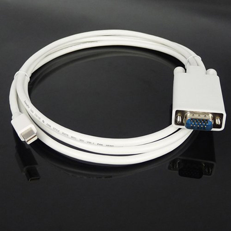 1.8M Mini DisplayPort Male to VGA Male Cable for MacBook/MacBook Pro/MacBook Air or Devices Utilizing Displayport   QJY9