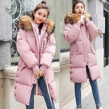 2018 New Women Parkas coat Winter Long jackets down cotton padded big fur collar loose styled jackets parka windproof warm 3XL