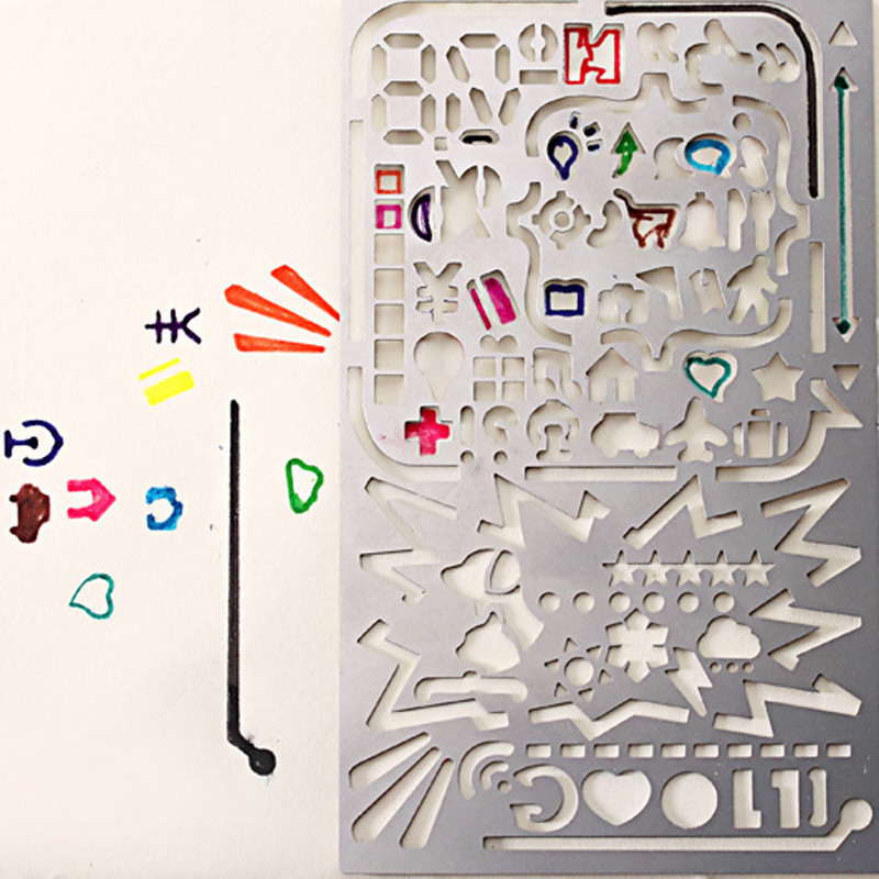 Kawaii Creative Phone Square Shape Rulers Diy Novelty Metal Hollow Ruler For Kids Drawing Gift Cute Item School Supplies