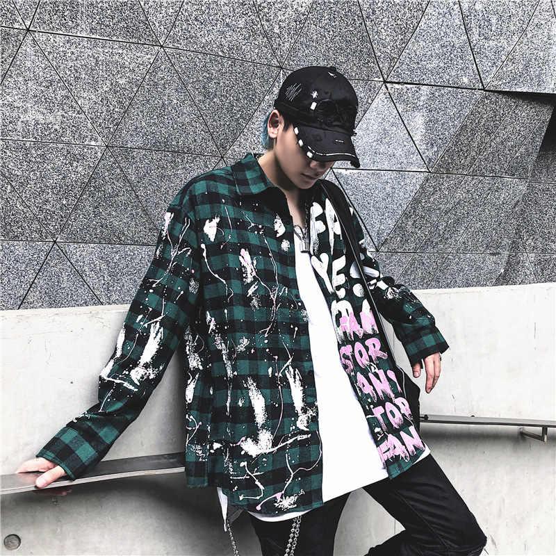 Seveyfan היפ הופ משובץ חולצות גברים של גרפיטי מודפס חולצות BF Oversize מורחב כותנה חולצות זכר חולצות