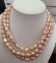 gorgeous natural 9-10mm south sea pink purple pearl necklace 48inch