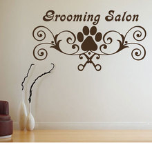 Pet Shop Decor Grooming Salon Logo Wall Sticker Dogs Paw Vinyl Decal Art Mural Pets Style RL13