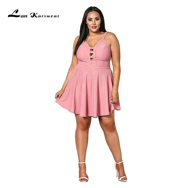 2019 Party Night Short Mini Dress Plus Size Women's Summer Beach Bandage Sundress Office Ladies Clothes Pink Black Elegant Sexy