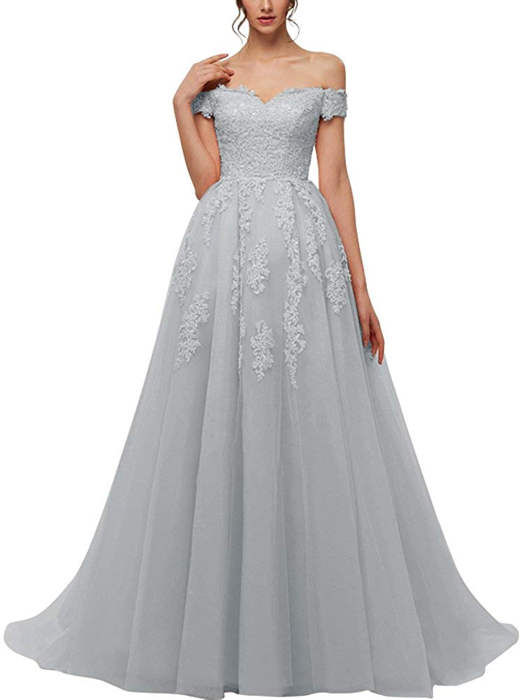 New Off The Shoulder Tulle   Bridesmaid     Dress   2018 Modest Robe De Soiree Appliques Beaded Wedding Party   Dresses