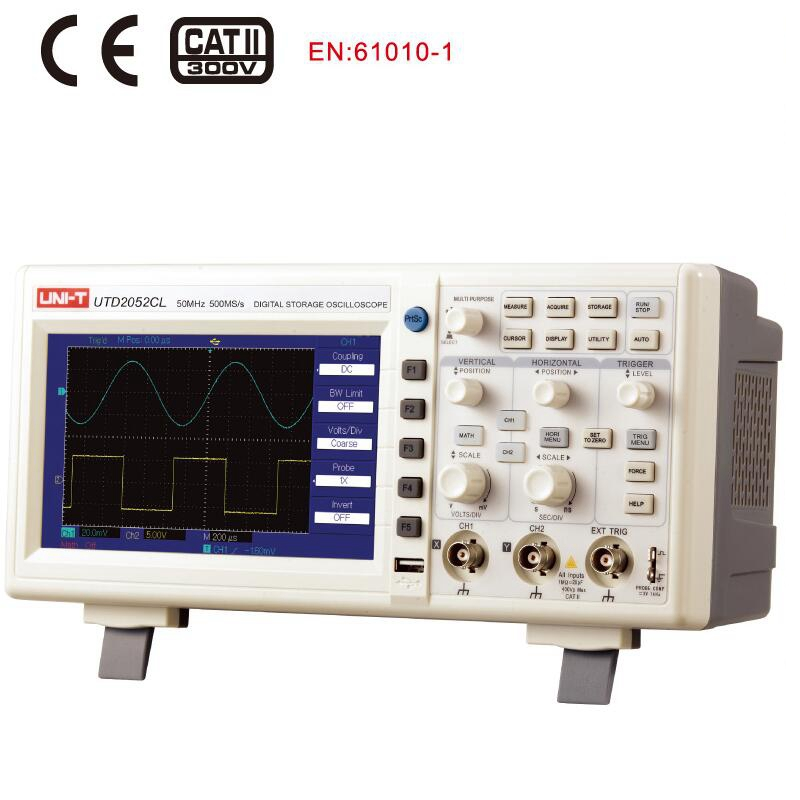 UNI T UTD2052CL Digital Storage Oscilloscope 2CH 50MHZ 500Ms/s USB OTG Benchtop Multilingual Scopemeter 7 inches LCD display ETL цена