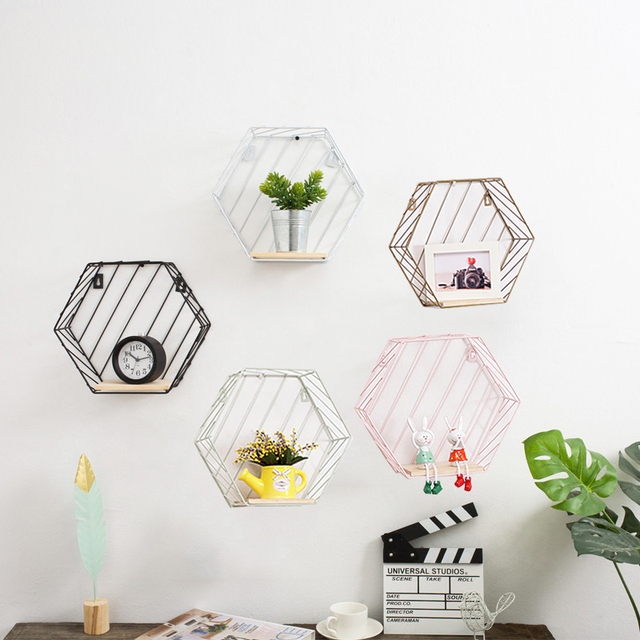 Wood Iron Art Hexagon Nordic Modern Style Storage Rack Wall Hanging Type Home Organizer Shelf Holder Decoration Tool Etagere