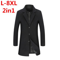 2017new arrival wool coat Turn down Collar men's winter warm Factory outlets high quality fashion luxury blazer plus size 8XL7XL