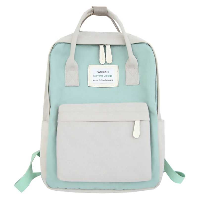 Fashion Lady Backpack Waterproof Canvas Travel Backpack Girls Bag(Green Plus White)