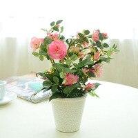 vase/ Wholesale simulation of bonsai plants flowers bonsai rose ornaments artificial flowers cheap quality artificial flowers