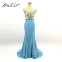 Mermaid Prom Dresses 2018 Split Evening Party Gowns sweetheart Formal Party Dresses With Stones Vestido De Festa Real Sample