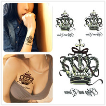 6 Style Optional Temporary Waterproof Tattoo Sticker, Noble Crown Fashion Bowknot, Body Painted Decorative Water Transfer Tattoo