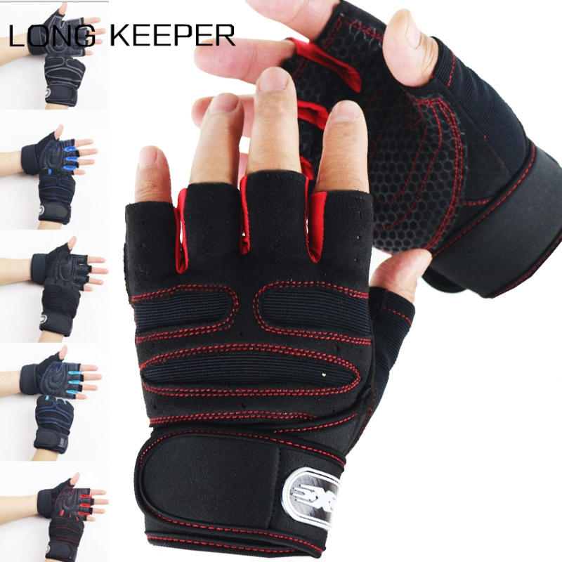 Men Half Finger Gloves Wristband Sports Fitness Dumbbell Weightlifting Training Mitten Motorcycle Breathable Non-slip Luvas
