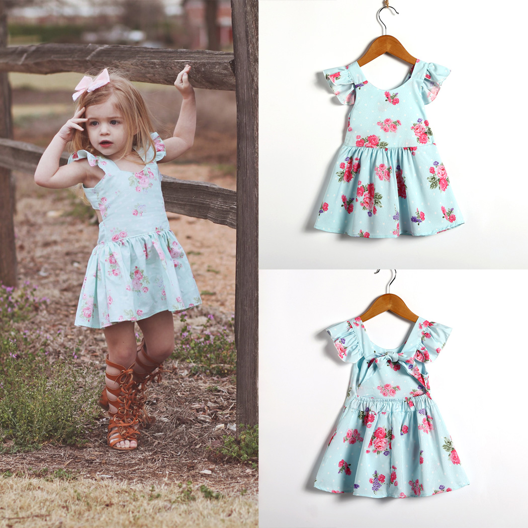 Newborn Baby Girls Dress Summer Floral Printed Tutu Party Wedding Bow Mini Backless Cute Pageant Dresses Flower Dresses