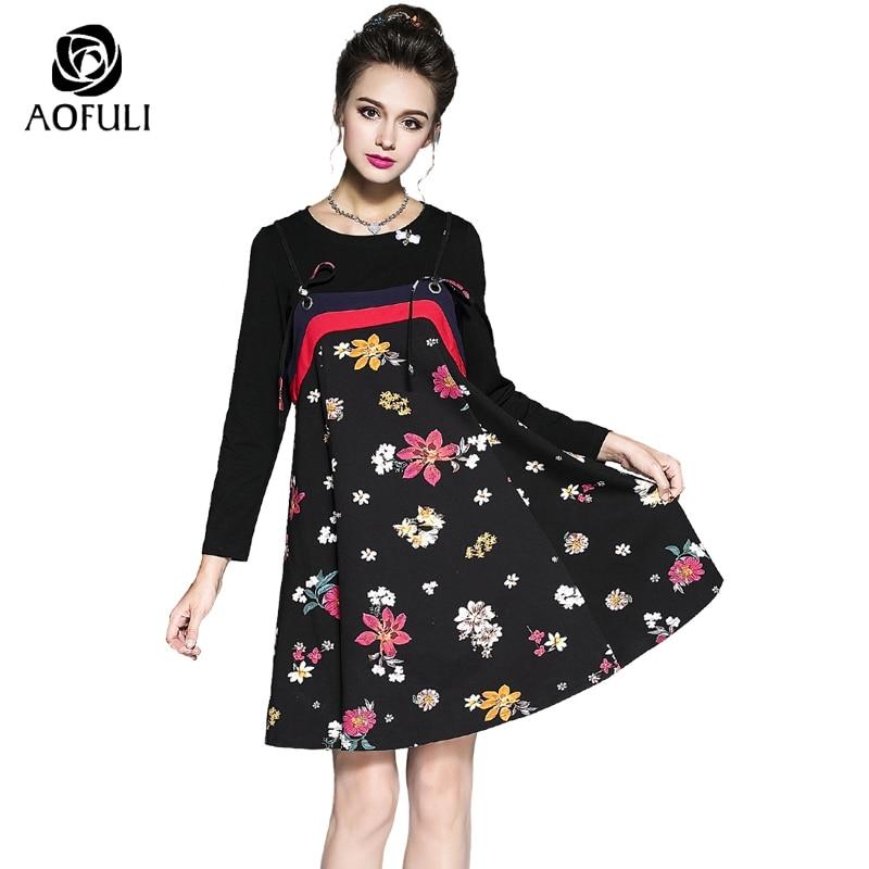 S 5XL Ladies Print Floral Two Pieces Dress Suit 3D Bee Beadings Autumn Long Sleeve T